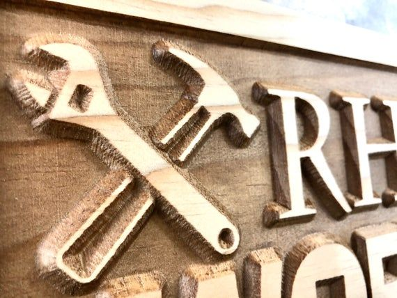 Photo of Personalized Garage sign Fathers day gift for dad Custom Workshop Sign wood shop name signs for him