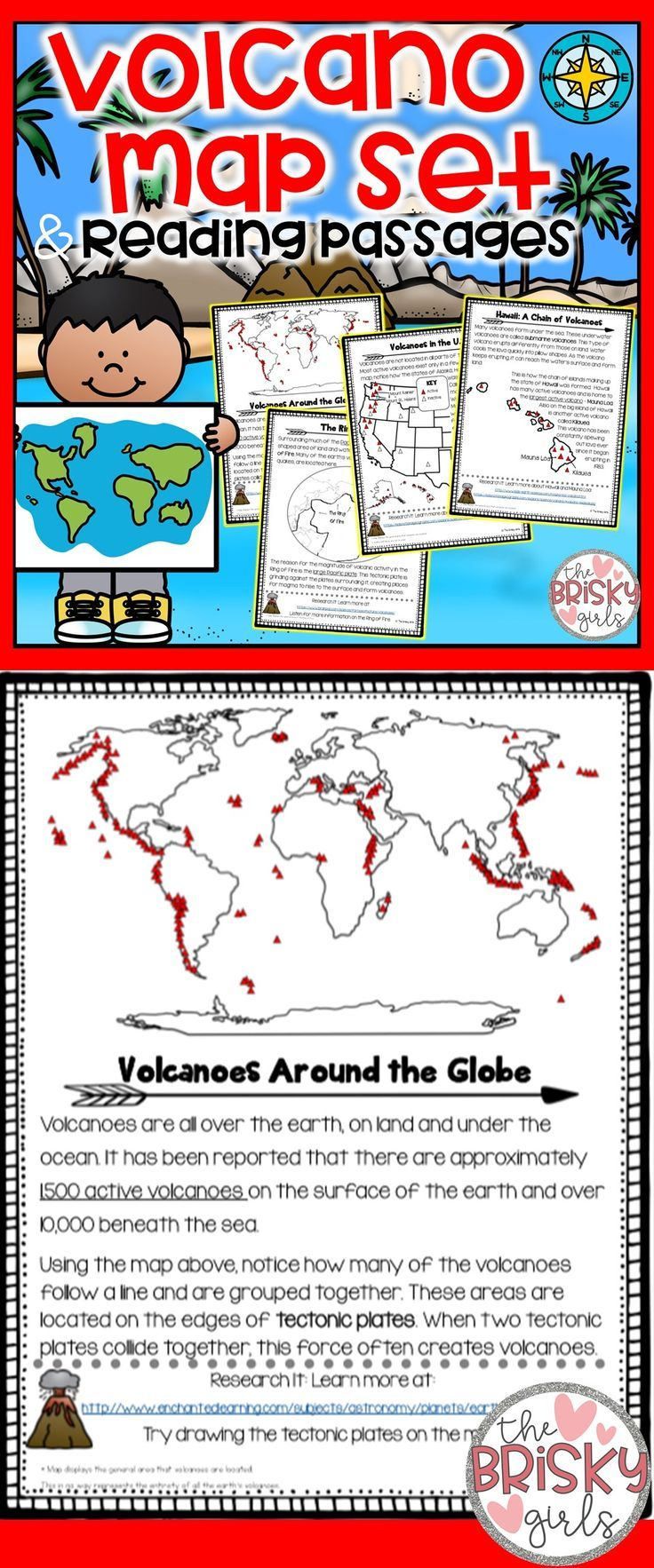 Volcano Map Set And Reading Passages In 2018 Tpt Misc Lessons
