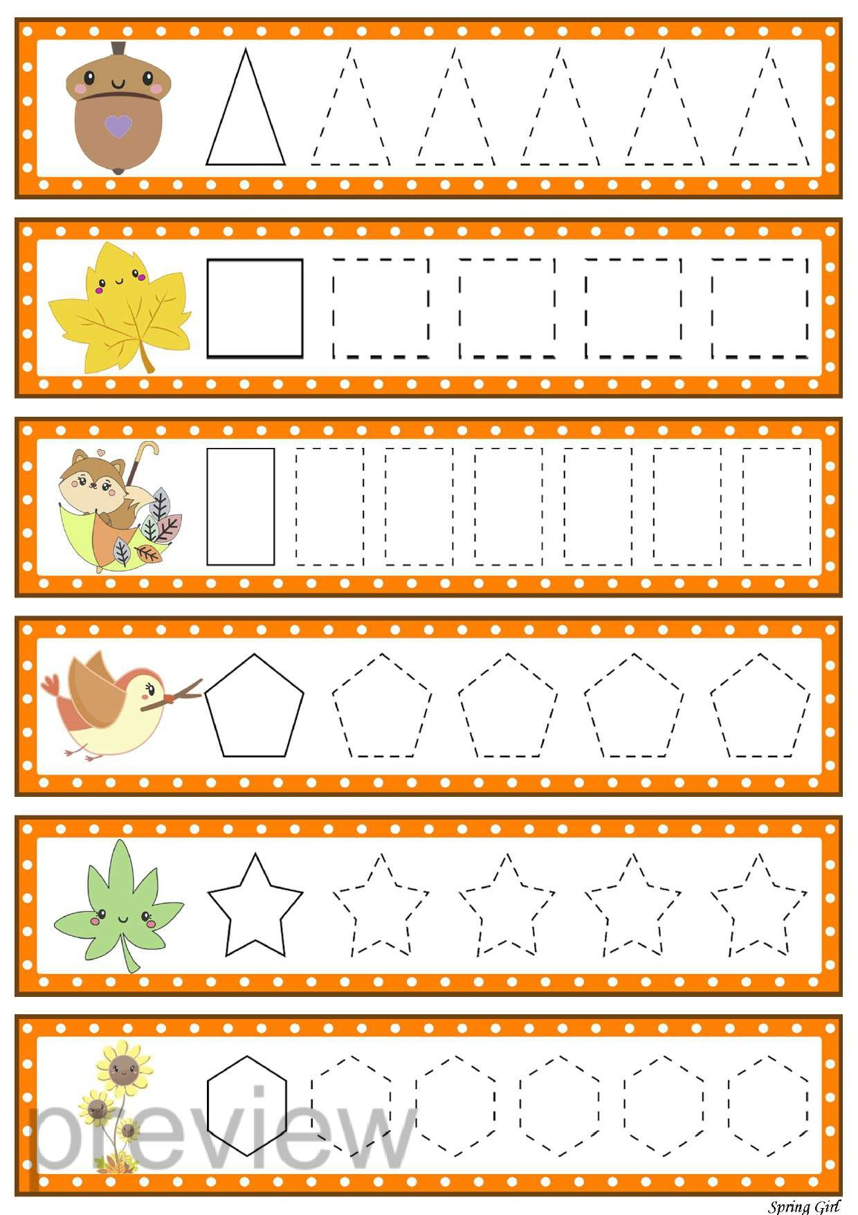 Pre Writing Tracing Lines Fall Worksheets In