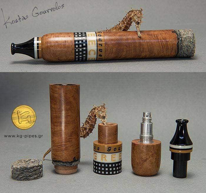 """Cigar-Pipe with my Aspida by Kostas Gourvelos  """"Well, a customer of mine needed a cigar pipe but he is used to smoke using my Aspida system. Thus I had to """"invent"""" a new version. I started studying Zeppelin and Chris Morgan cigar-pipes (as you can see in the last photo), making many sketches and smoking a lot. I made my own test pipe (dark-brown-blasted in the middle), I tried it many times, made corrections and more sketches and finally came up with my """"robusto"""" one that you see today"""""""