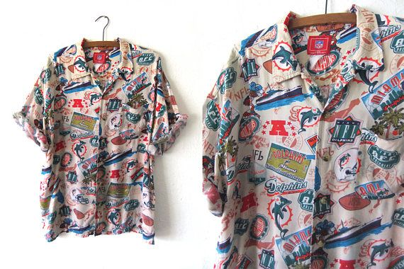 89bea0043 Miami Dolphins Hawaiian Shirt - NFL Football 90s Throwback Open Collar Button  Down Shirt - Vintage Mens XL