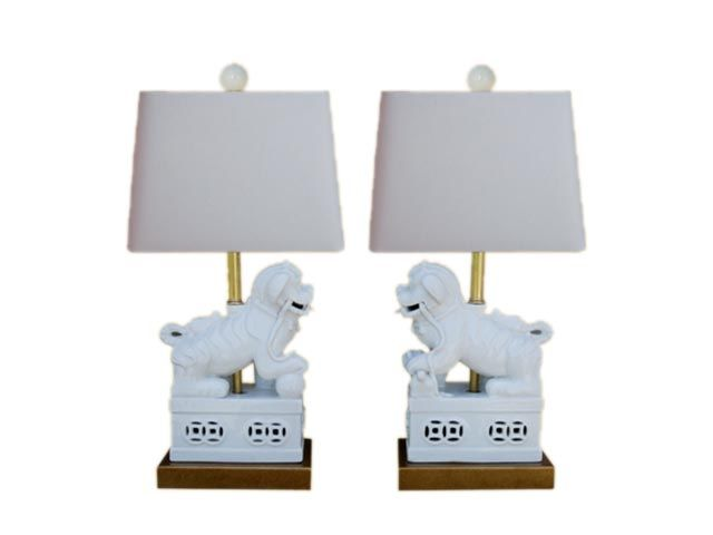 Amazing Pair Of White Foo Dog Lamps So Incredibly Beautiful
