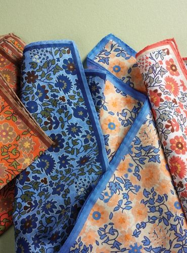 Cotton Pocket Square with Printed Floral Motif