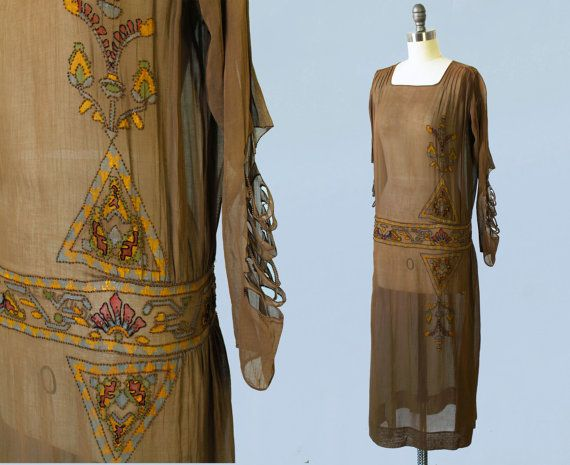 Reserved --RARE 1920s Dress / 20s EGYPTIAN REVIVAL Hand Painted ...