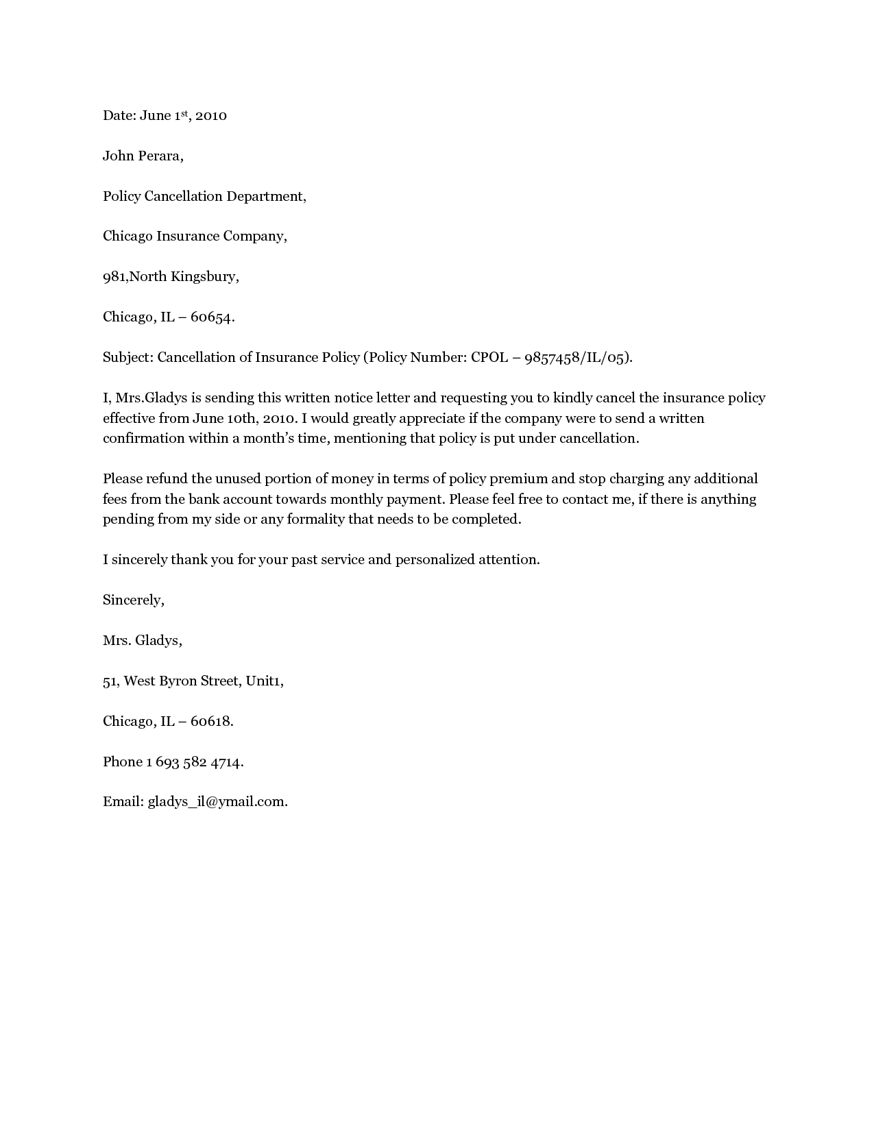 Download Insurance Cancellation Letter Sample Letters By Panniuniu