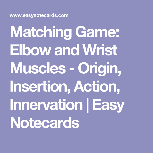 Matching Game: Elbow and Wrist Muscles - Origin, Insertion, Action ...
