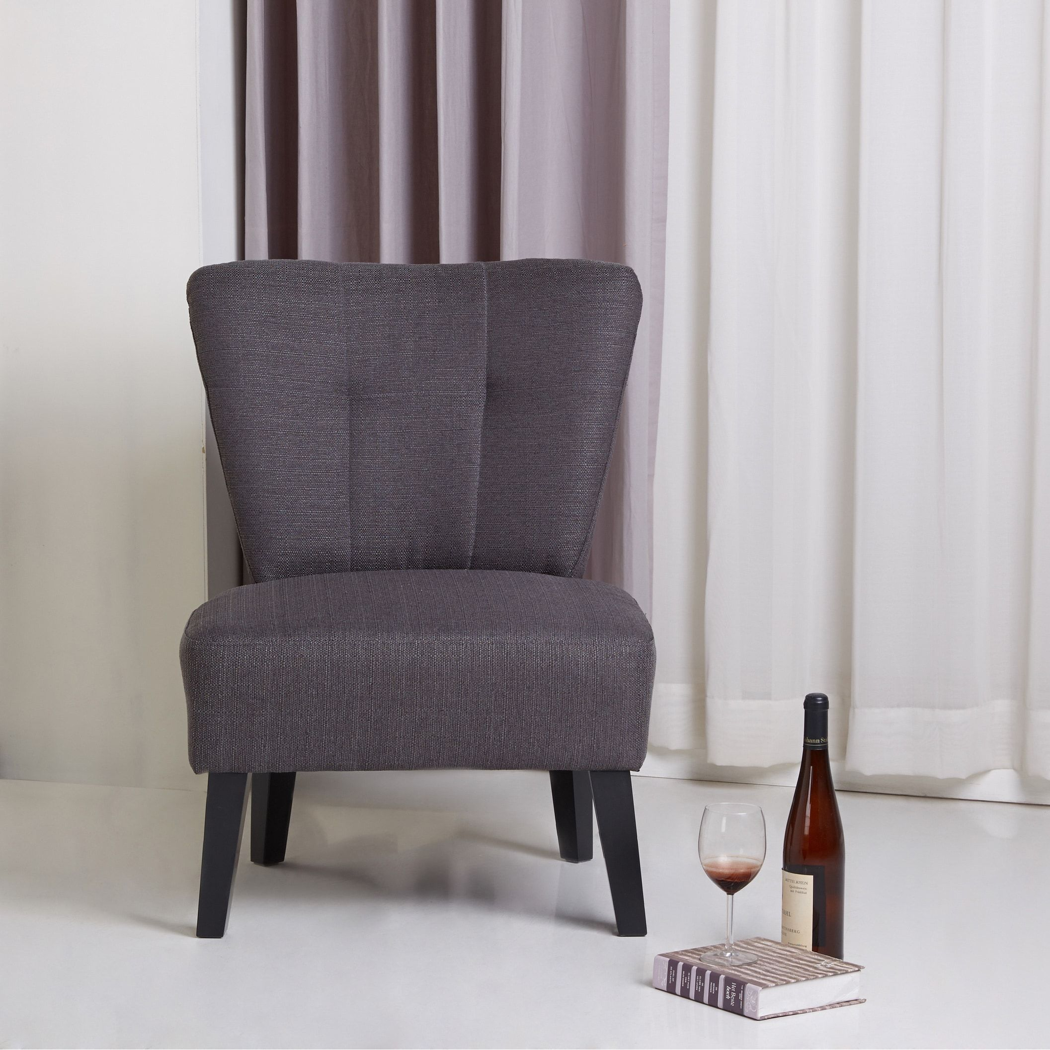 Sitswell Maddie Charcoal Grey Contemporary Accent Chair Fair Overstock Living Room Chairs Inspiration