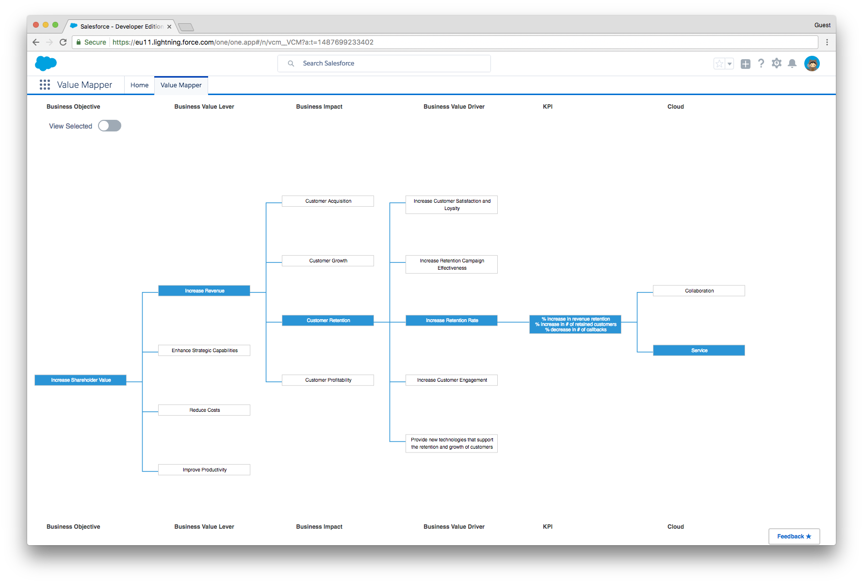 A Salesforce Premier Success Plan FeatureValue Mapper
