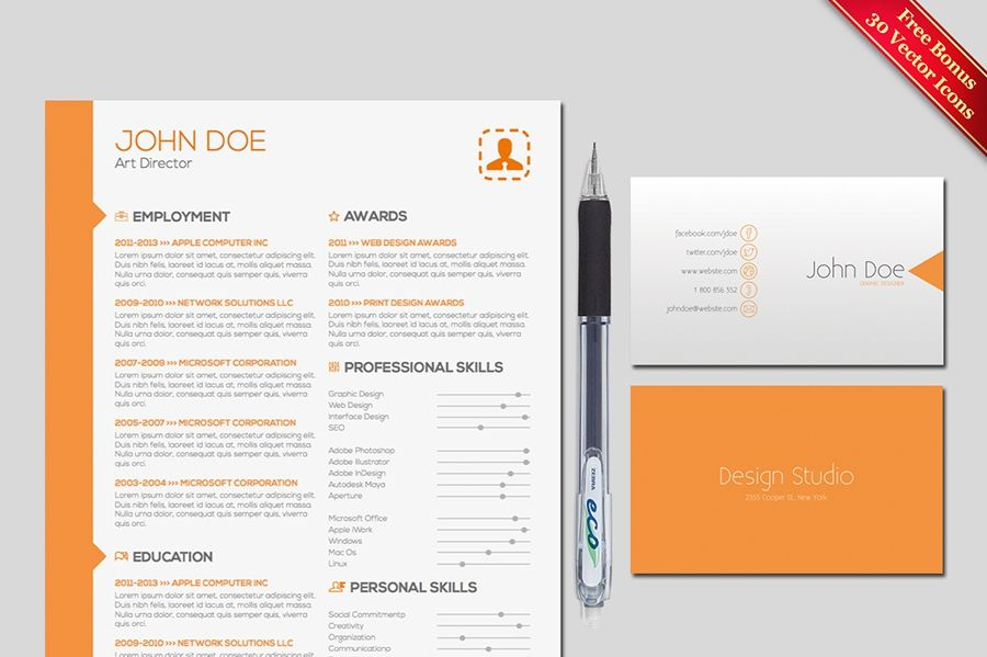 Two Pages Resume & Cover Letter Template for Adobe