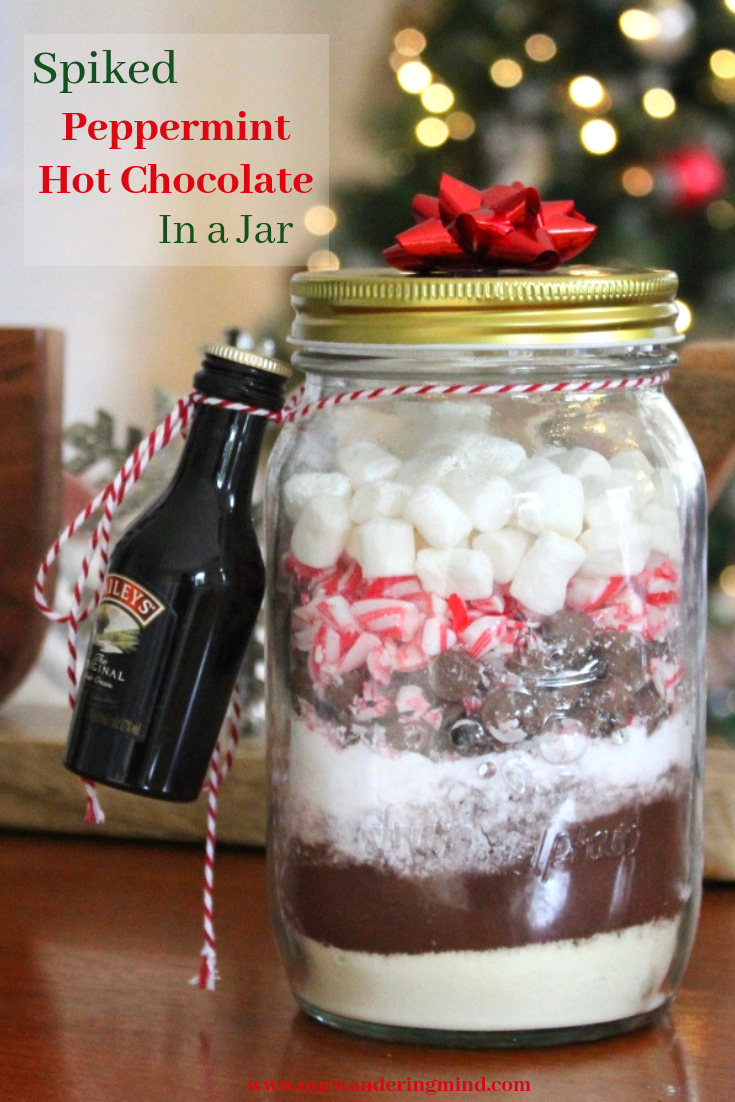 Diy Christmas Present Spiked Peppermint Hot Chocolate In A Jar Peppermint Hot Chocolate Hot Chocolate In A Jar Christmas Hot Chocolate
