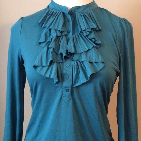 Talbots Size Large Teal Ruffle Button Front Top Gorgeous long sleeve blouse, pretty teal color and we also have it in a dark brown and salmon. It's made of polyester and rayon. Talbots Tops Blouses