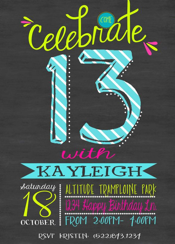 Chalkboard Birthday Invitation Teen By FlyOnTheWallink