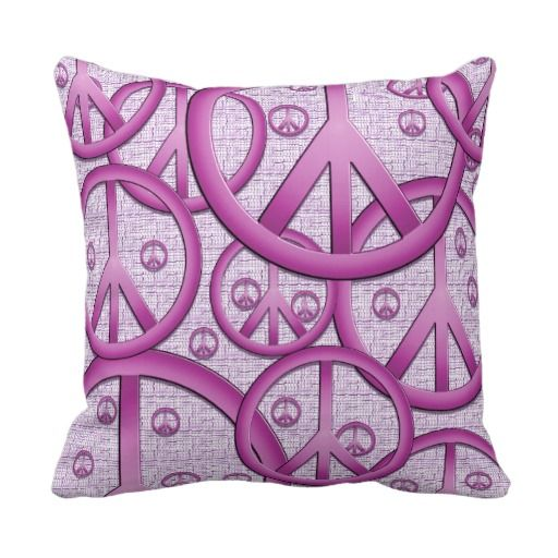 Peace Sign Bedroom Accessories: Purple Peace Sign Pillow