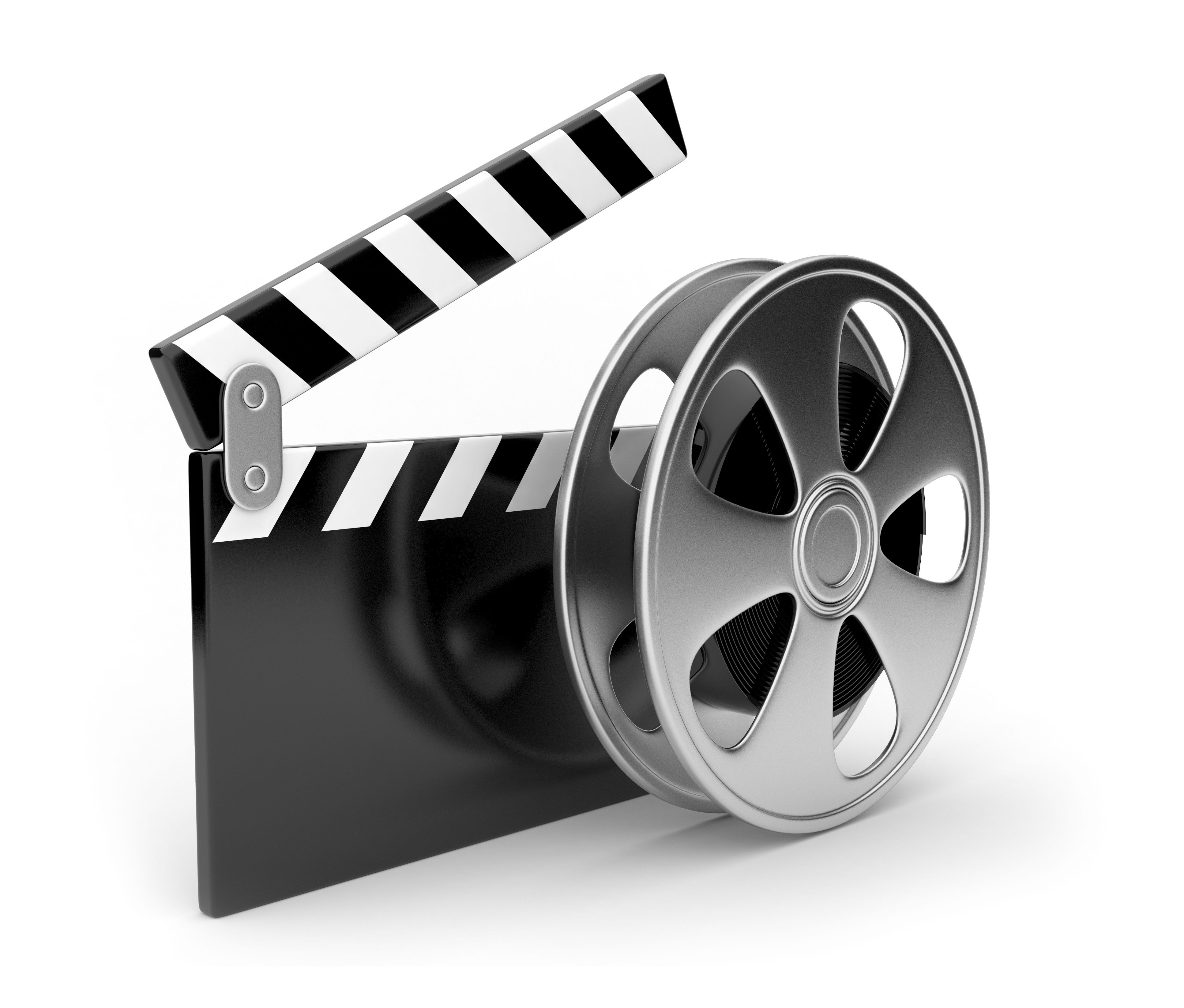 Film and clap board movies symbol 3d Isolated on white