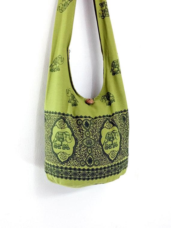 Women bag Handbags Cotton Elephant bag Hippie bag Hobo bag Boho bag Shoulder bag Sling bag Messenger bag Tote bag Crossbody Purse Green on Etsy, Sold