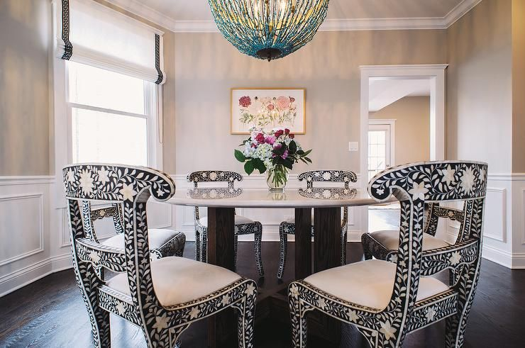 Chic Dining Room Features Creamy Beige Paint On Upper Walls And Impressive Ideas For Painting Dining Room Table And Chairs Review