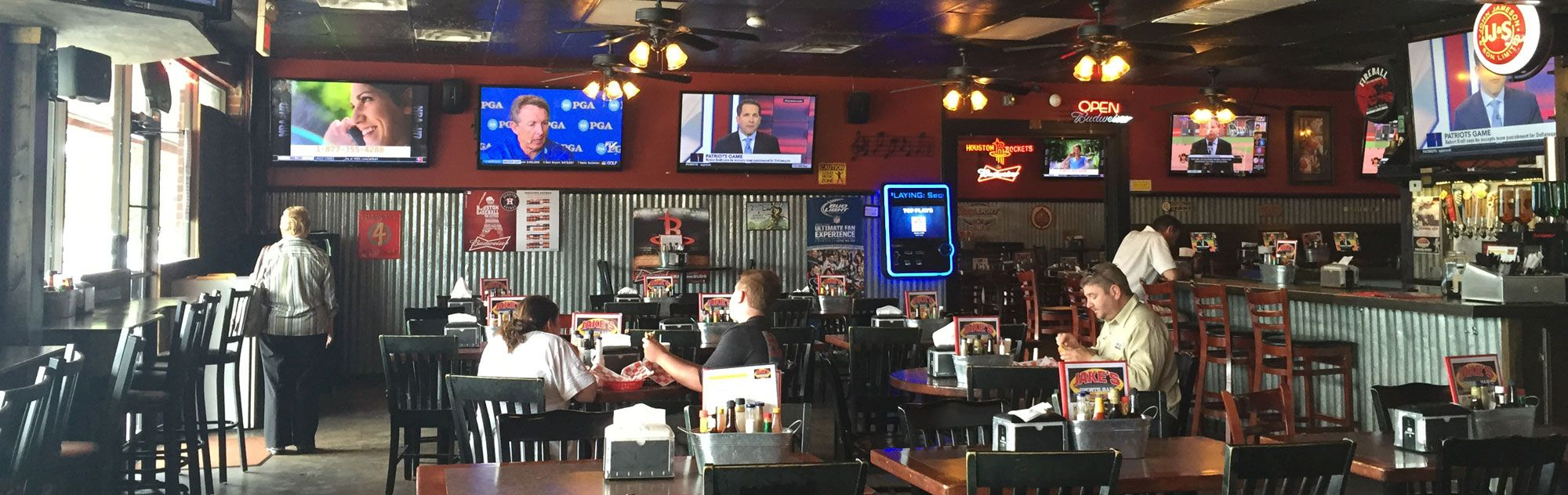 Jakes sports bar is located in the galleria area between