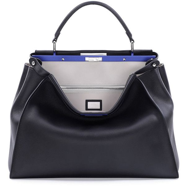 Fendi Peekaboo Large Satchel Bag ($4,775) ❤ liked on Polyvore featuring bags, handbags, fendi bags, fendi purses, blue handbags, blue satchel handbags and fendi