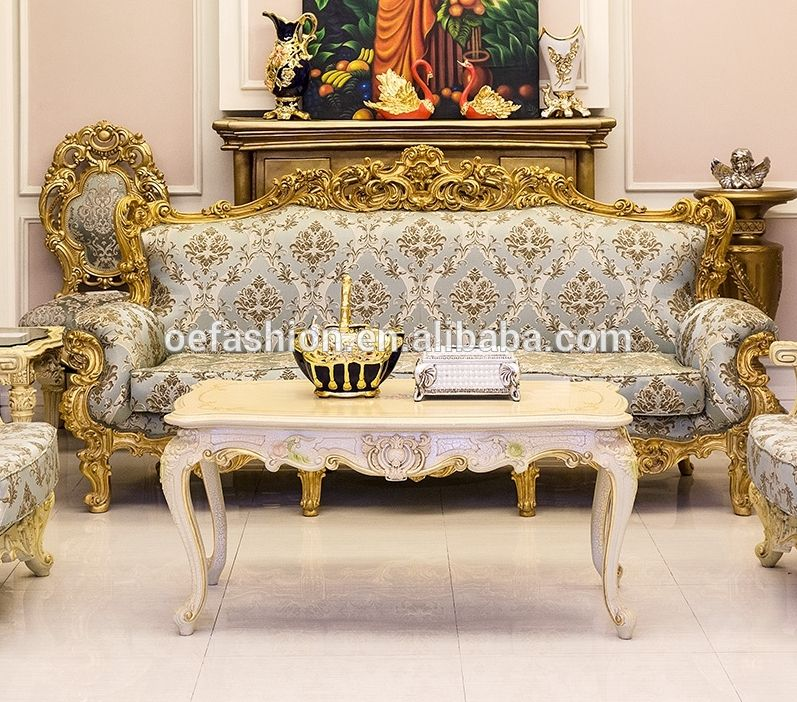 Oe Fashion Luxury Design Wood Carving Gold Leaf Frame Living Room Velvet 3 Seater Sofa View Living Room Luxury Antique Wooden Sofa Furniture Styles Furniture