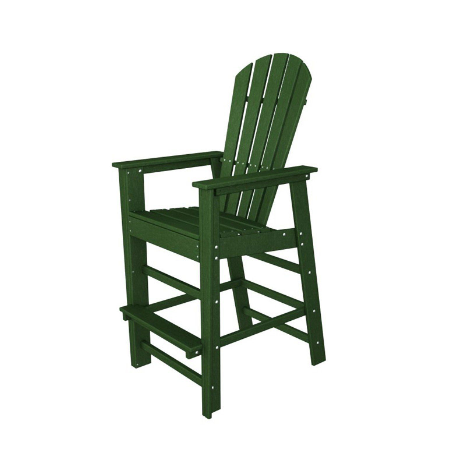Outdoor Polywooda South Beach Recycled Plastic Bar Chair Green