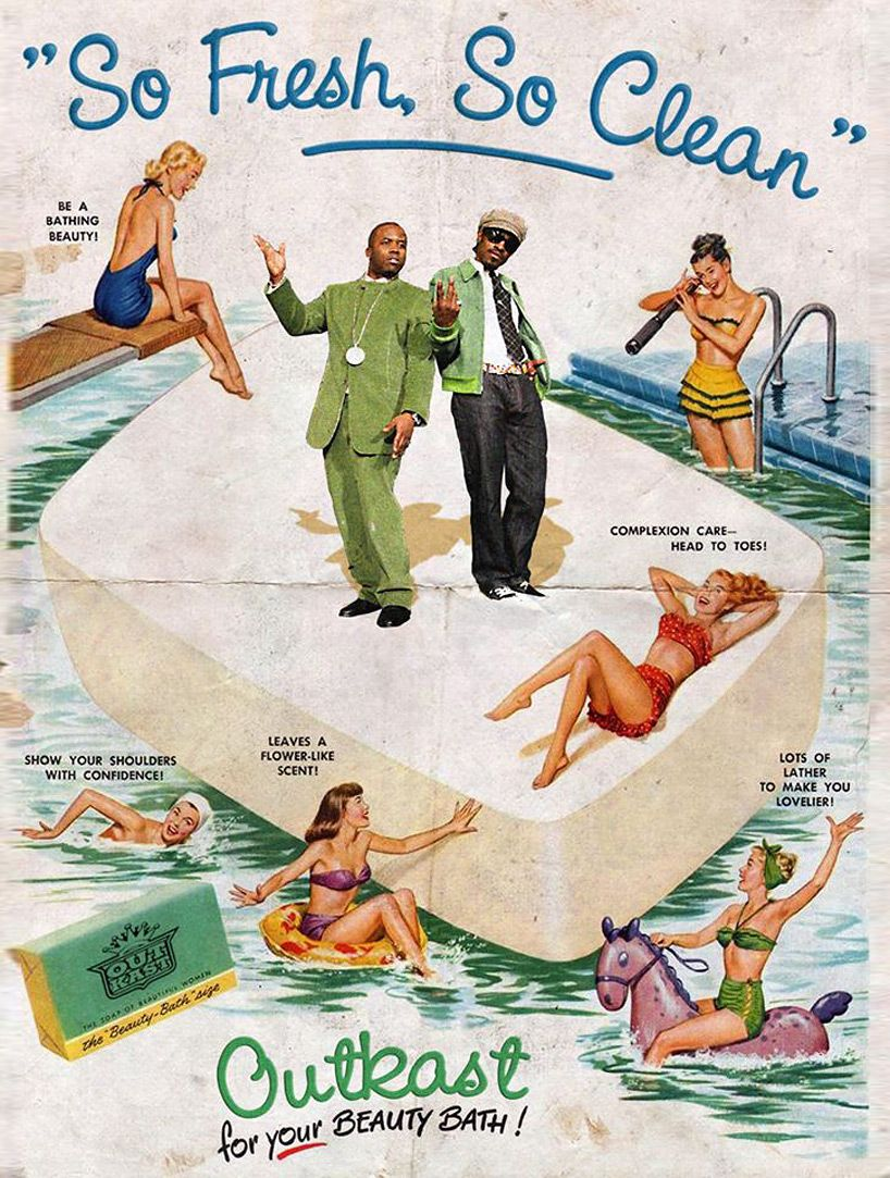 david redon remixes vintage american ads with pop icons (big boi and andre 3000)