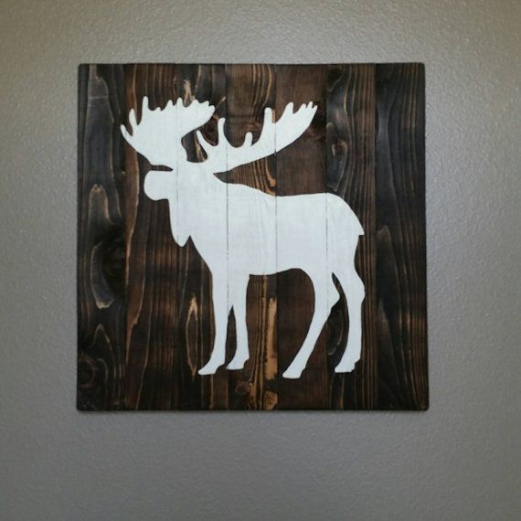 24x24 Painted Wood Sign Wall Art Moose By Clairecourtdesigns Moose Wall Art Moose Silhouette Art