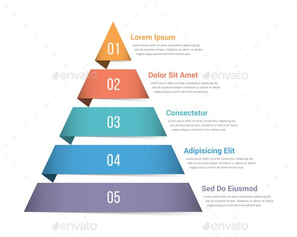 Pyramid Infographics With Five Elements  Ai Illustrator