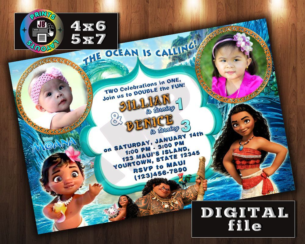 bday party invitation mail%0A Moana Disney Birthday Invitation  Double Twins  Any Age  Digital File  D