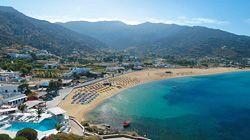 Mylopotas Beach in Ios island of Cyclades.   Ios Palace Hotel & Spa