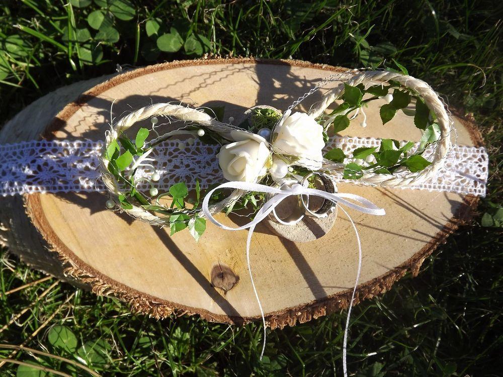 Ringkissen Ringhalter Holzscheibe Unendlich für Eheringe Hochzeit
