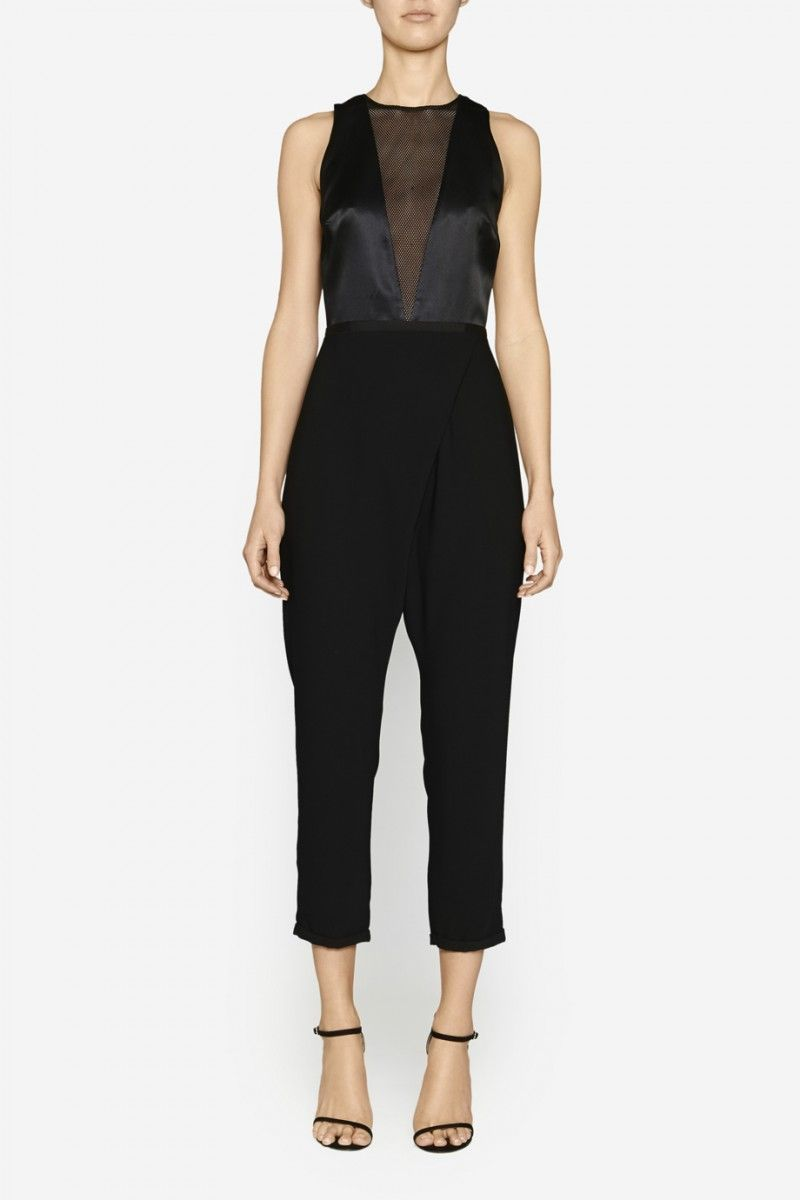 Camilla and Marc | CONTINUOUS JUMPSUIT  US$603.04 Detailed jumpsuit created with a fitted silk bodice with a v-shaped mesh panel at the centre front. This piece includes a thin waistband and wrap-style trousers with a cropped length. Includes an invisible zipper fastening at the centre back.