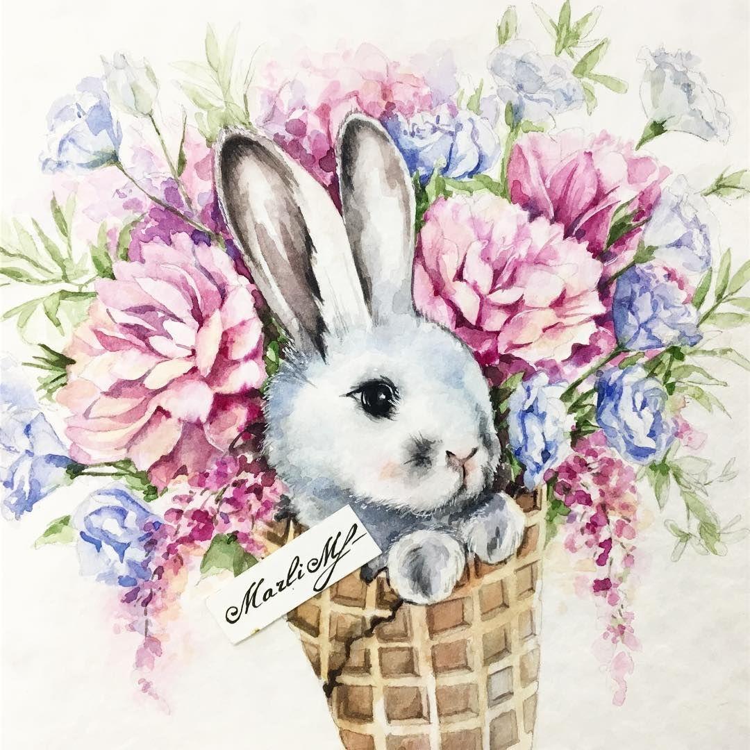 Нарисовать открытку с кроликом