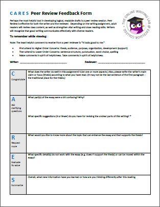 sample peer evaluation form Student feedback form Pinterest