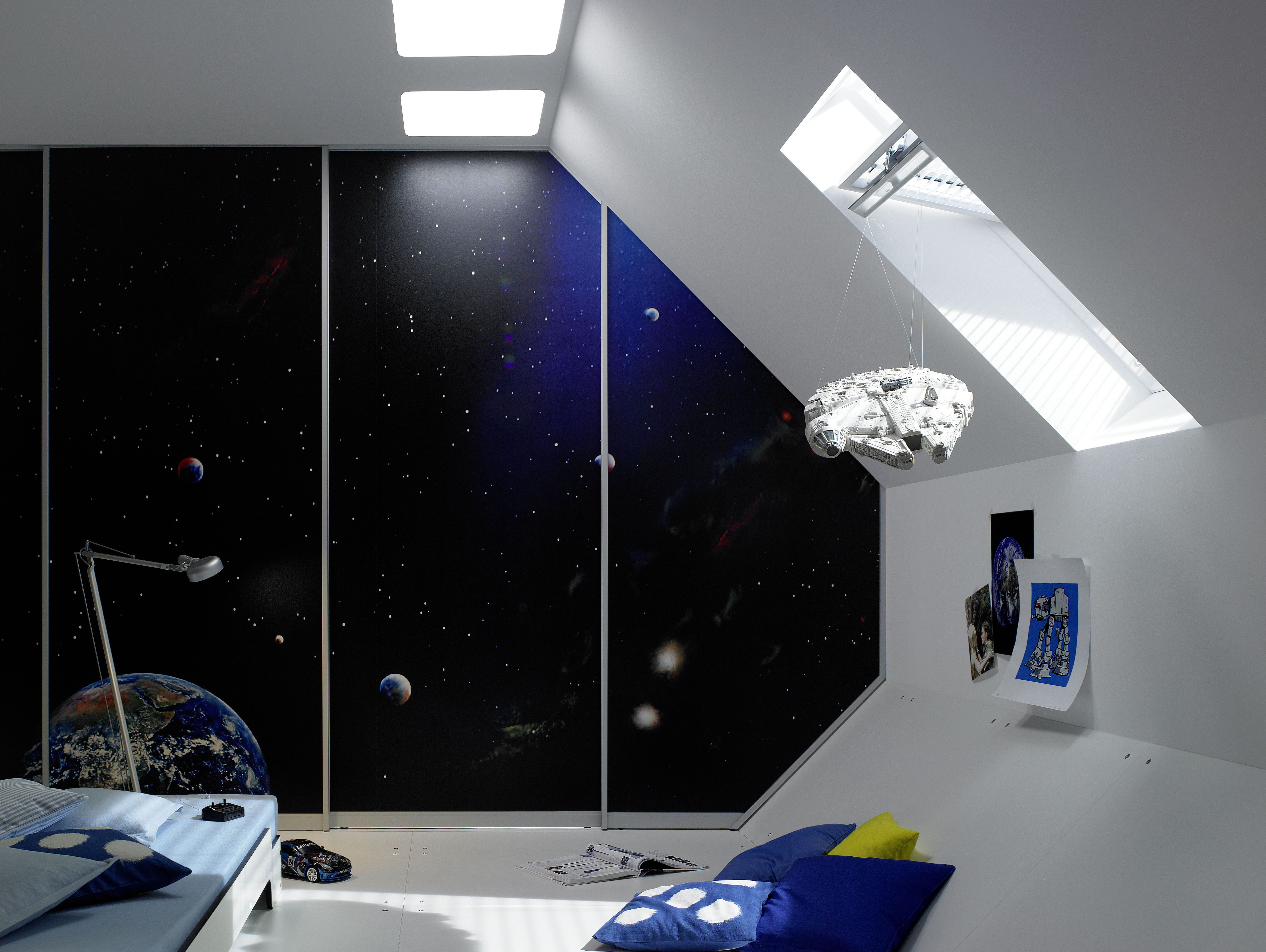 This Is Actually A Closet Door With A Modern Star Wars Theme This Is An Awesome Idea For A Chil Modern Closet Doors Custom Interior Doors Custom Closet Doors