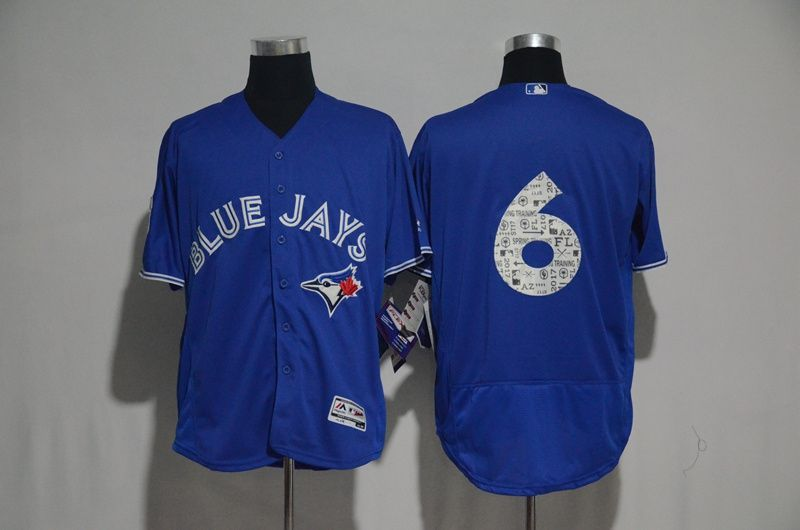 the latest ee1be d741c 2017 MLB Toronto Blue Jays 6 no name Blue Fashion Edition ...