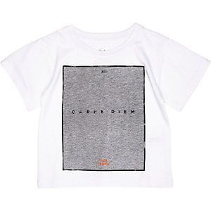 Mini girls white carpe diem print t-shirt