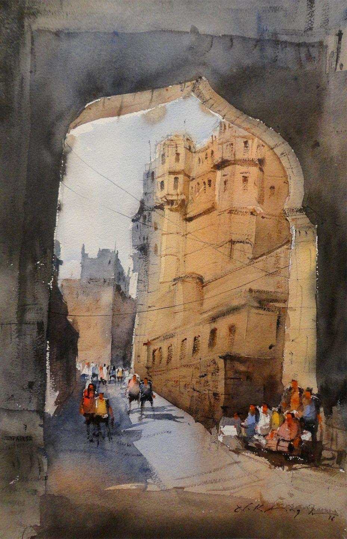 Watercolour Cityscape Painting