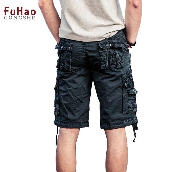 FuzWeb:Cargo Shorts Men Cool Summer Hot Sale Cotton Casual Men Short Pants Clothing Comfortable Men Cargo Shorts