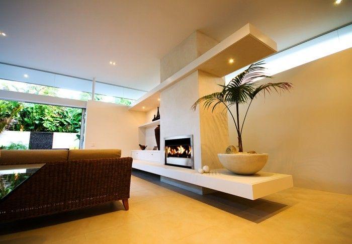 wohnzimmer lampen modernes interieur gelbe bodenfliesen Leuchten