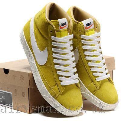 Men Nike Blazer High Yellow White Premium Retro Suede On Sale