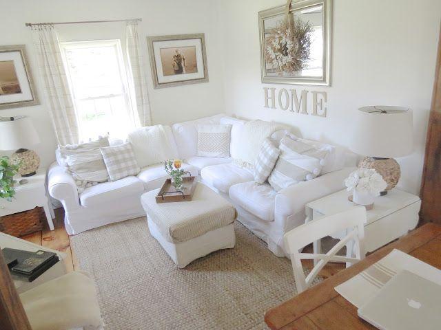 Simply White Living Room Ideas: Ikea Ektorp Sectional Sofa & Footstool, White. White/sand
