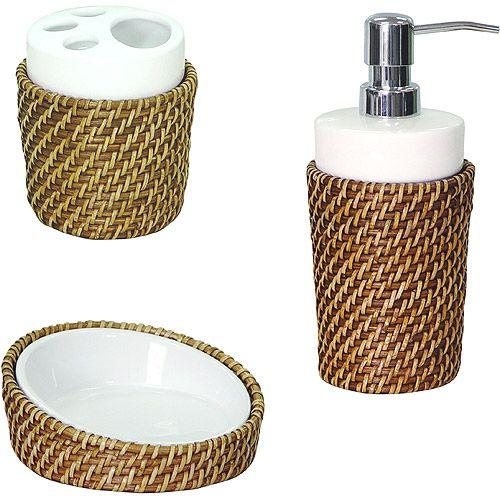 Elite Home Fashions 3 Piece Bathroom Accessory Set, Rattan, Honey