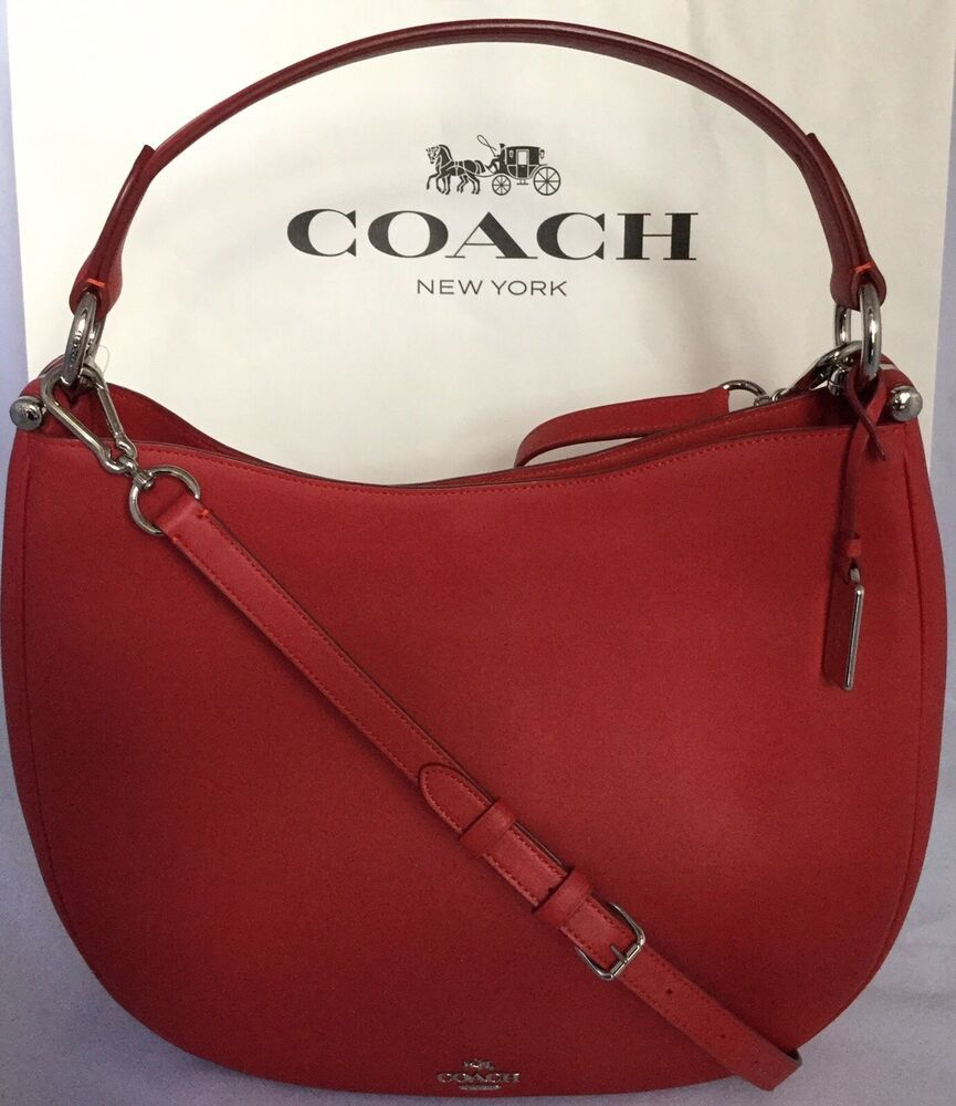COACH F36026 NOMAD HOBO GLOVETANNED LEATHER HANDBAG PURSE SVTRUE RED NWT