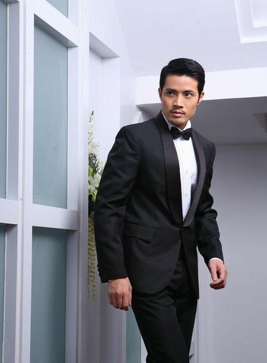 men wedding suit Men\'s white shawl collar suits Korean singer chorus ...