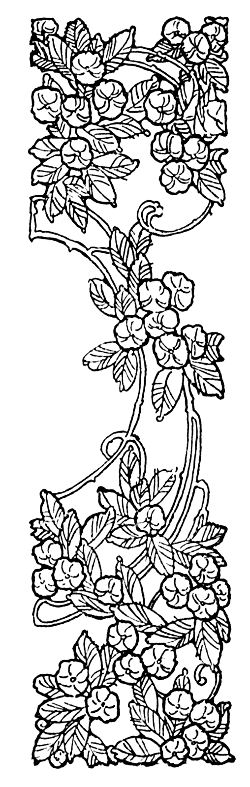 Pretty Art Nouveau Floral Border Clipart - Public Domain | Graphics ...