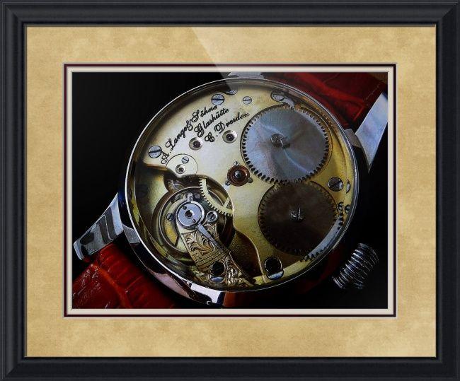 "A. Lange & Sohne Swiss Watch // Paper: enhanced matte; Glazing: acrylic; Moulding: black/gray, black step; Top Mat: white/cream, rococo cream; Middle Mat: red, cabernet; Bottom Mat: tan, seaside // Price starts at $159 (Petite: 22"" x 24""). // Customize at http://www.imagekind.com/A-Lange--Sohne-Swiss-Timepiece_art?IMID=f59c96d5-ffd1-4161-90e3-0361617473b8"