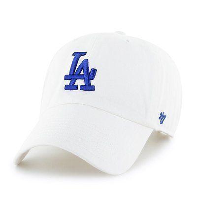 Los Angeles Dodgers LA  47 Brand MLB Strapback Adjustable Cap Hat White  Clean Up 06f1d28f906