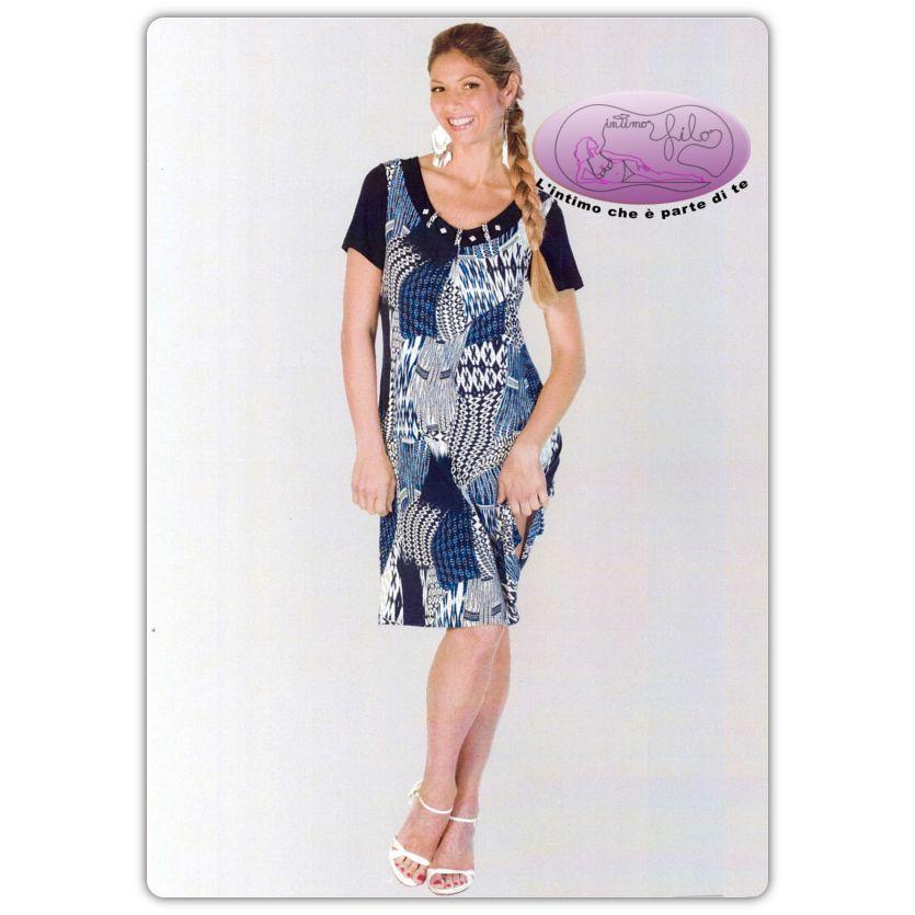 a1b883457843a Abito lady in morbida viscosa a fantasia floreale con maniche corte in  contrasto tinta unita.