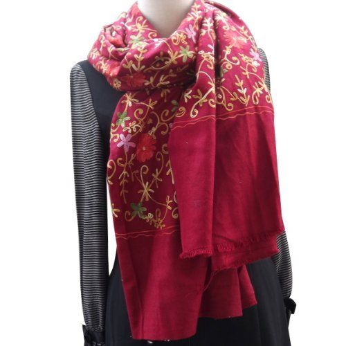SHAWL CASHMERE PASHMINA WRAP WITH ALL OVER CREWEL EMBROIDERY SCARF