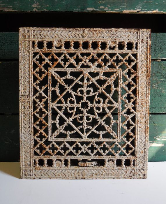 Antique Cast Iron Metal Grate Floor Wall Vent Architectural Salvage